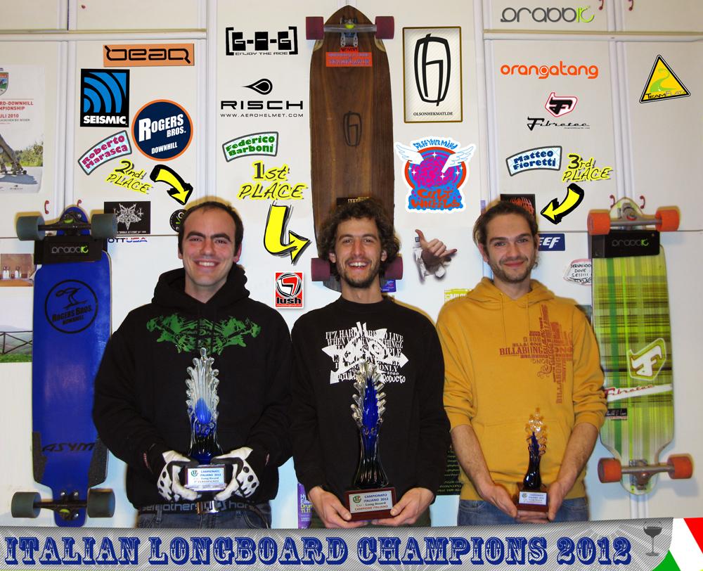 Federico Barboni, Roberto Marasca, Matteo Fioretti campione italiano downhill skateboard 2012